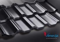 """Модульная металлочерепица """"Венеция"""" D-Matt (Arcelor Mitall -Германия), цвет Чёрный (9005) - 840"""